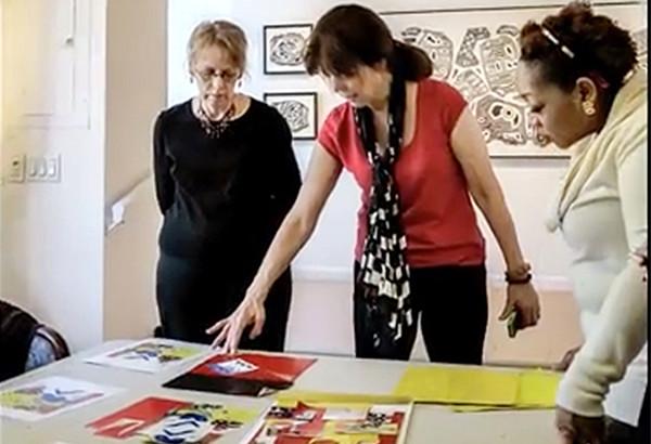 nikkal_collage demo at Blue Door Gallery workshopB
